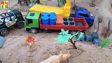 越野车在动物园观光