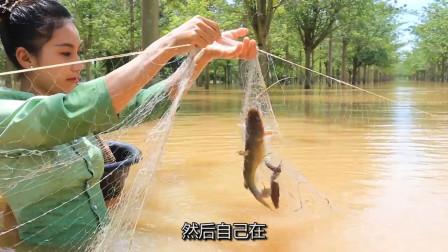 泰国美女模仿李子柒,上山打鸟、下河摸鱼,网友:好想去这个世外桃源