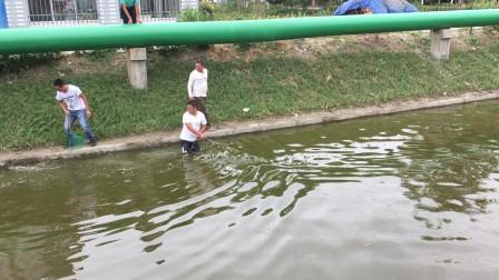 鱼在跳就是搞不到,大爷:这网下得太直了!