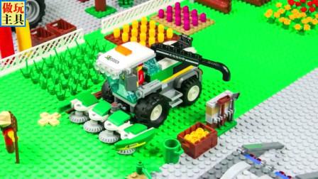 积木吊车和直升机,工程车扛把子卡车很不错