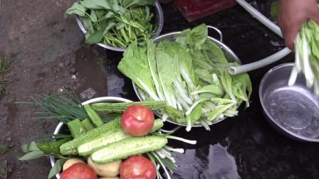 摩友一起在川藏线上自己买菜做饭,这个老少团队很和谐!