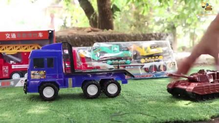 户外挖掘机 铲土车等工程玩具拆箱展示