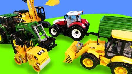 在牧场农场工作的拖拉机和铲车在运输豆子