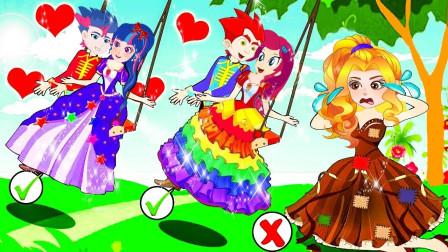 阿坤和紫悦艾达琪骑着小海马比赛,谁赢了?小马国女孩