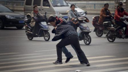 嚣张老人穿红灯,公交司机看不惯,老人挥拳就打,不料司机也不是吃素的!