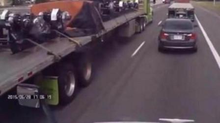 宝马车高速挑衅大货车,故意占道不走,3秒后被三辆大货车围堵教训!活该
