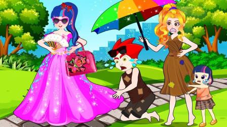 王子看到艾达琪和碧琪在欺负姐姐,他很生气的丢下了他们 小马国女孩游戏