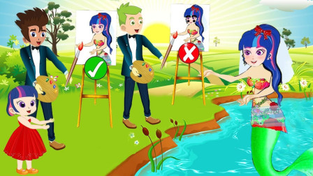 紫悦也想游泳,可是女孩为什么不让她下游泳池呢?小马国女孩游戏