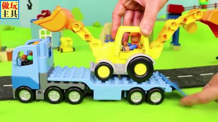 铲车和挖掘机多功能汽车,益智救护车玩具