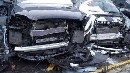新手女司机奥迪试驾,没想到错把油门当刹车,连撞21辆奥迪反倒无责!