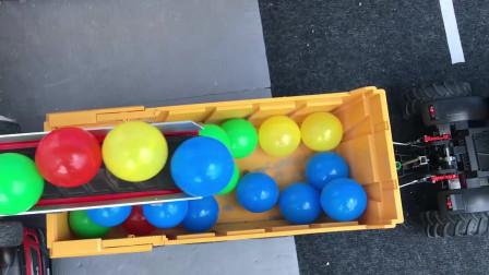 儿童颜色学习 拖拉机拉了满满一车彩色的小球