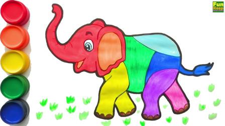 怎么画可爱的大象 儿童绘画 学习儿童色彩 儿童简笔画 填色