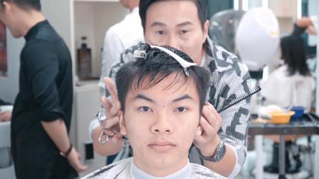 小伙嫌发型没亮点 太普通 这款发型剪加造型 衬托五官帅气有型