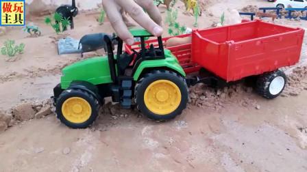 仿真挖掘机和拖拉机玩具,厉害