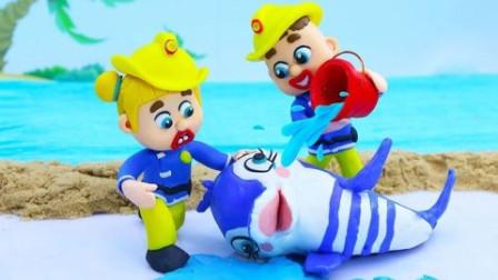 陈精灵和朋友在沙滩上帮助小鲸鱼!
