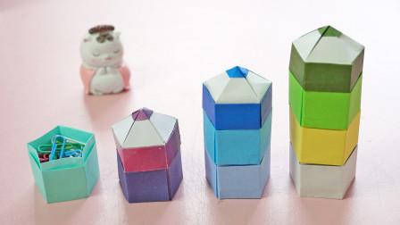 几张纸折好的收纳盒,铅笔造型萌萌哒,可以装些小零碎