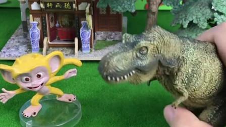 小猴子被大鳄鱼追赶,恐龙先生及时赶到,打败了大鳄鱼