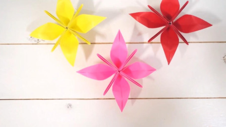 折纸教程:漂亮的四角花就这么折,超级简单