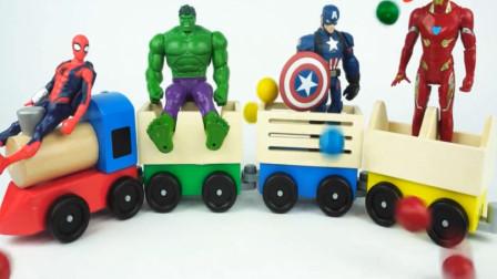 婴幼儿益智玩具 漫威动画绿巨人蜘蛛侠坐托马斯小火车