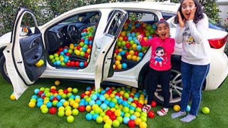 国外父亲为给女儿惊喜,在汽车内装满海洋球,满满的幸福感哦!