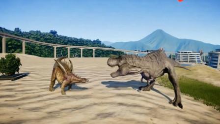 侏罗纪世界 霸王龙激战甲龙迅猛龙谁更厉害呢 恐龙动漫