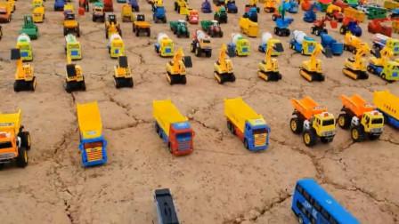 亲子早教学习汽车名称 工程车卡车推土机消防车挖掘机自卸车道路滚筒