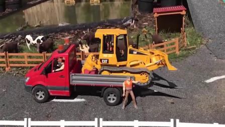 儿童颜色学习 红色的拖车运送黄色的推土机