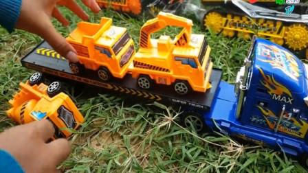 学习认知各种汽车名称 工程车挖掘机平地机卡车玩具