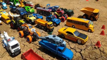 汽车玩具视频 儿童卡车运输坦克自卸卡车 亲子益智