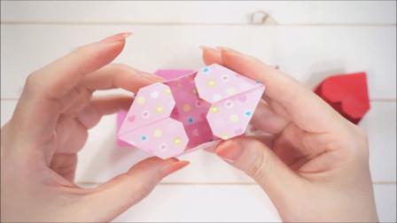 折纸小手工:用手工纸折漂亮的双心收纳盒