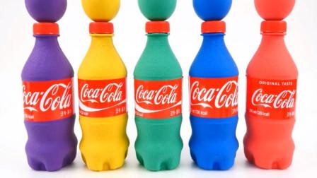 趣味动画 用橡皮泥彩泥制作彩色可口可乐 色彩认知