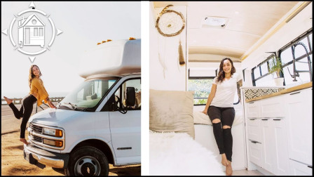 房车改装分享:美女也玩DIY,她把一辆小巴士改装成了可爱的家