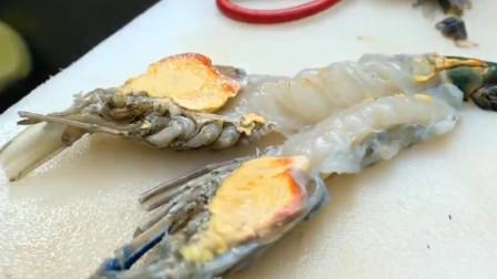 酥炸泰国超大罗氏虾,虾黄丰满赛梭子蟹