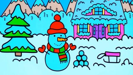 趣味动画 学习绘画圣诞树与雪人 儿童绘画技巧