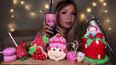 美女吃播,草莓卡通甜点派对,蛋糕马卡龙饼干造型别致,香甜好吃