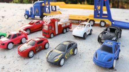 趣味玩具 超长的双层大卡车拉来了一车好玩的玩具车