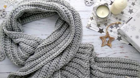 可以钩成情侣款的条纹花样围巾,适合新手,钩针编织基础教程
