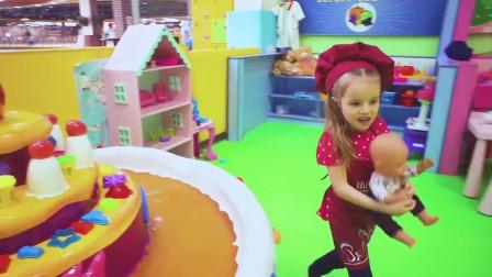 萌娃小可爱这是在做什么好吃的呀 玩具宝宝嘴馋啦! 快给它做个冰淇淋吧!