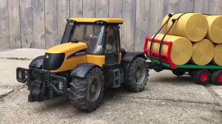 红色拖拉机陷进水坑,黄色拖拉机来救援,工程车挖掘机游戏