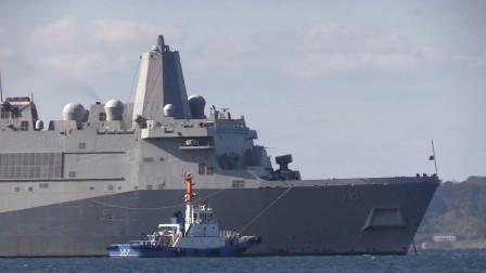2万吨巨舰驶入日本,美国又增派一两栖运输舰,与美国号互补