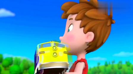 汪汪队:巨人亚力把火车当成玩具,车里还有人,碰巧天天引走他!