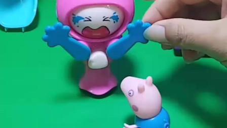 小姐姐哭得好难过,乔治给她果冻和甜筒,让她不要哭了