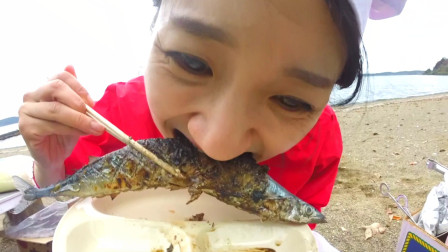 ❤日本青森应季海鲜烧烤大餐 o(*≧▽≦)ツ ❤边吃边烤~野炊吃东西太美味啦!~~