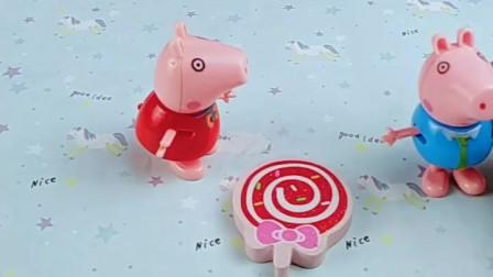 佩奇有个棒棒糖,乔治想要佩奇不给,他找猪爸爸给他买