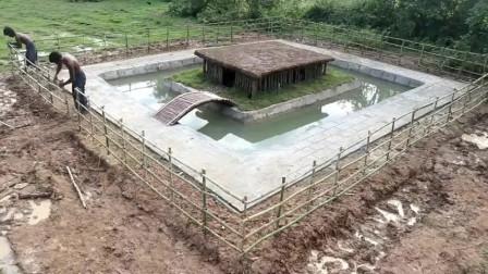 野外生存,两兄弟对游泳池进行扩建,比之前更加高大上了