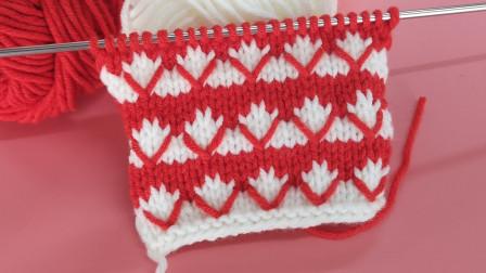 双色交织的棒针花样教程,简单大方,可以给孩子织衣服哦