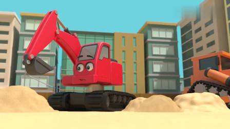 建筑工地上的挖掘机推土机与搅拌机儿童动画片