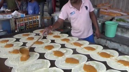 印度大叔特色煎饼,这技术有点强势!