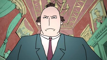 动画:老王通过拨自己的头发,来升职加薪,结果最后变成了秃头