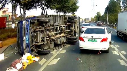 行车记录仪实拍:不会预判盲目超车,遇见大货车已经刹不住了